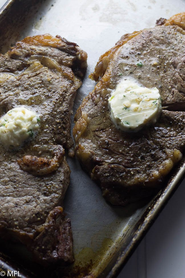 steak with garlic herb butter