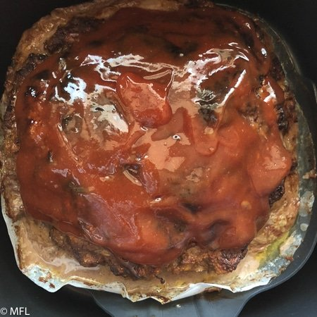 air fried meatloaf covered in glaze