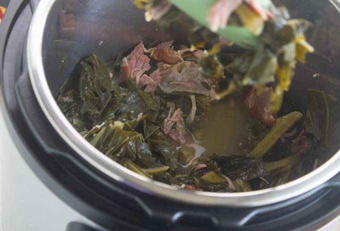 collard greens inside pressure cooker