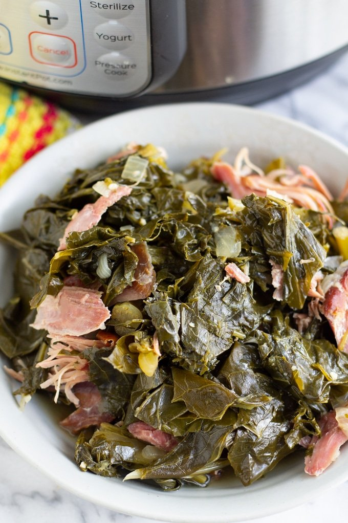 pressure cooker collard greens on a plate