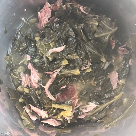 finished pressure cooker collard greens in instant pot