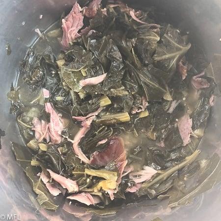 finished pressure cooker collard greens in instant pot