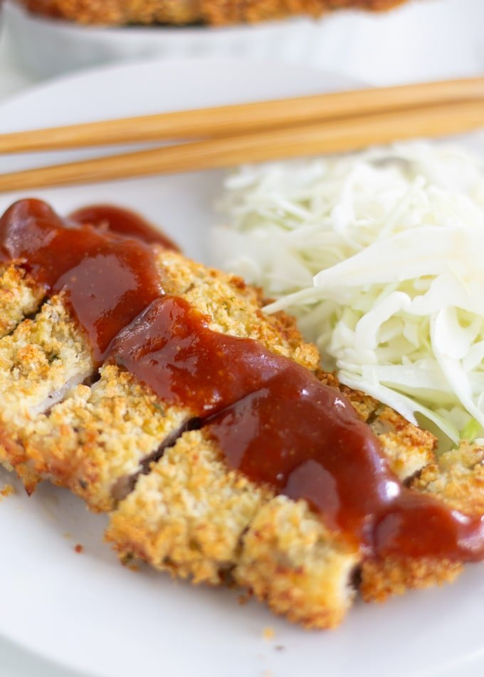 air fryer boneless pork chop, japanese katsu, with tonkatsu sauce on top