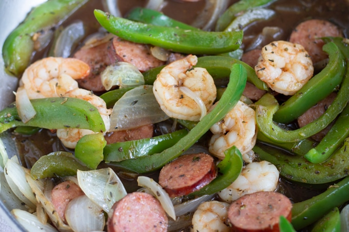 balsamic shrimp and sausage dinner in skillet