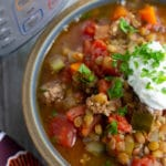 pressure cooker lentil soup in a bowl