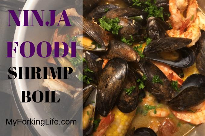 photo of shrimo boil with text that says ninja foodi shrimp boil
