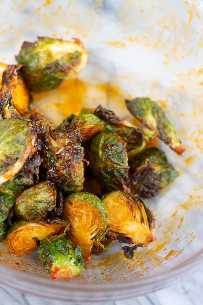 cooked brussels in glass bowl