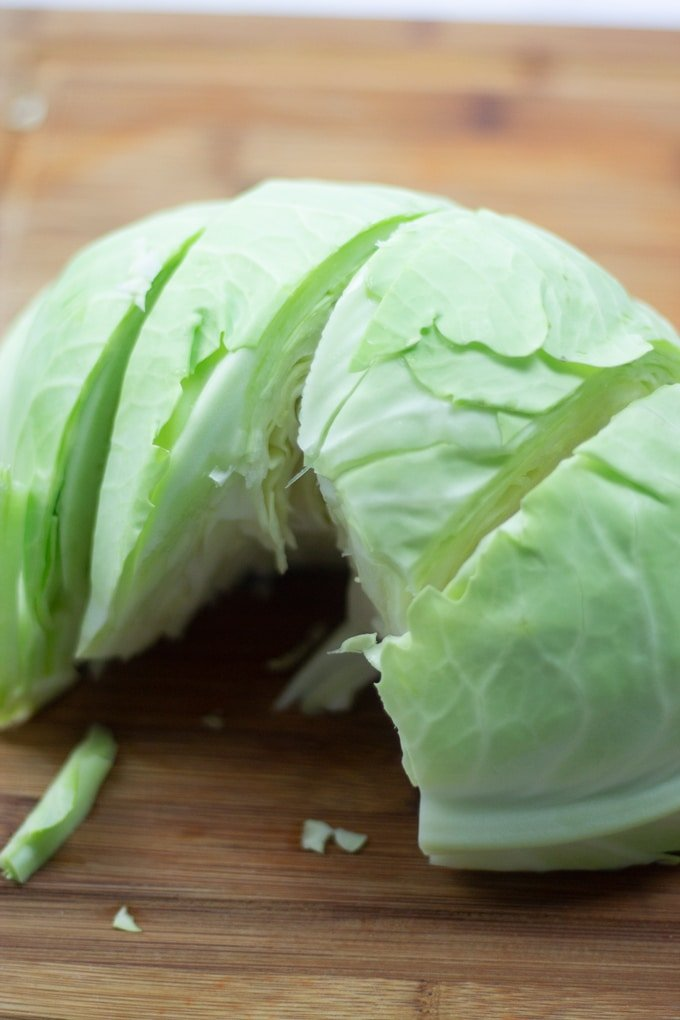 cabbage cored and cut into 4 pieces