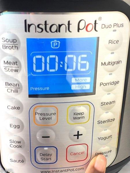 front of instant pot with timer set to 6 minutes high pressure