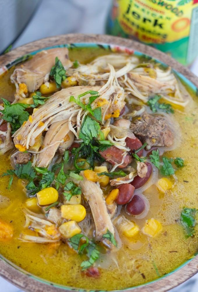 jerk chicken soup in a bowl