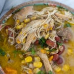jerk chicken soup recipe in a bowl
