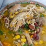 jerk chicken soup recipe in a bowl