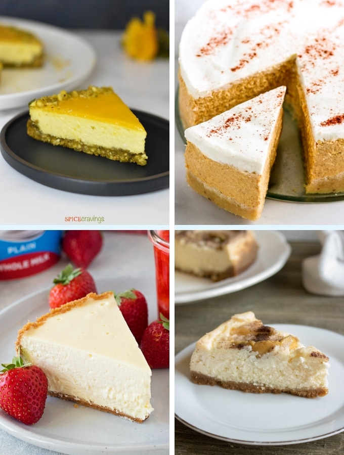 Instant Pot Dessert Recipes cheesecake collage 2, various cakes