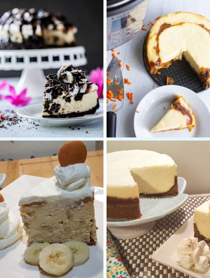 Instant Pot Dessert Recipes collage cheesecake 1. oreo cheesecake, carrot cake cheesecake, banana cheesecake, regular cheesecake