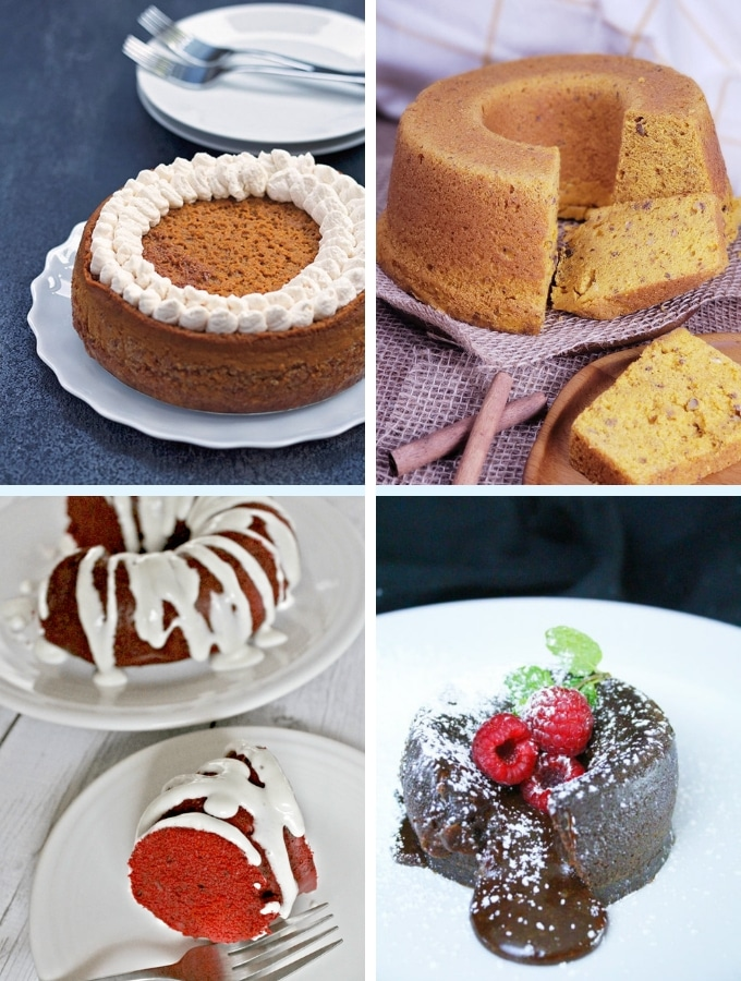 Instant Pot Dessert Recipes pies and cake collage, various cakes