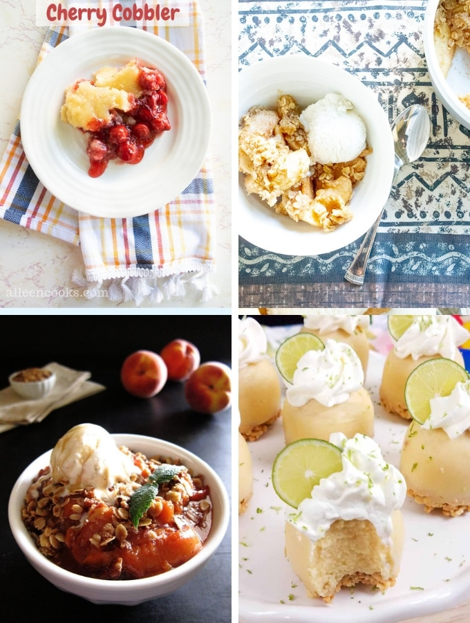 Instant Pot Dessert Recipes Fruit Desserts collage, various pies