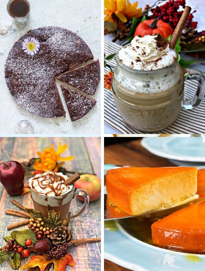 Instant Pot Dessert Drinks Recipes collage, various drinks and pie