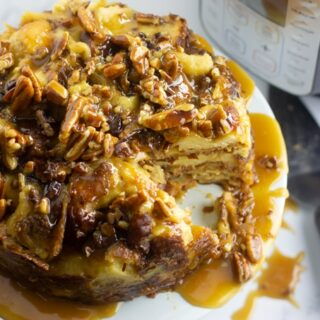 Instant Pot Bread Pudding with Pecan Caramel Glaze