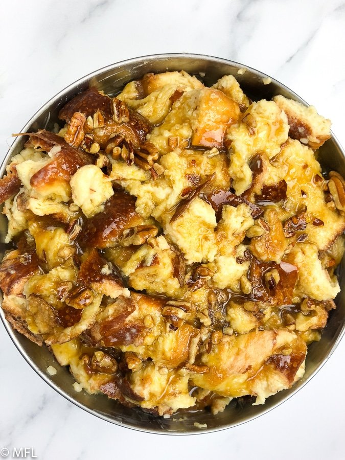 instant pot bread pudding in pan before being baked