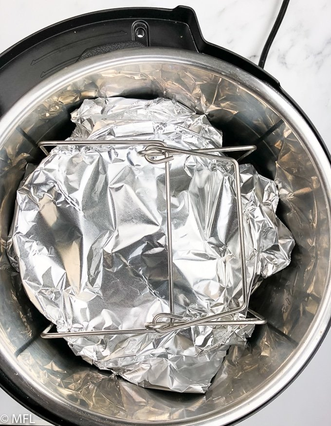 instant pot bread pudding covered with foil inside instant pot