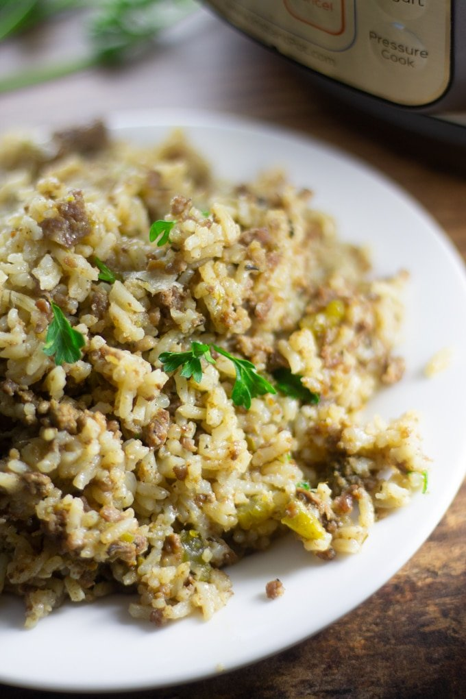 Instant Pot Dirty Rice on a plate
