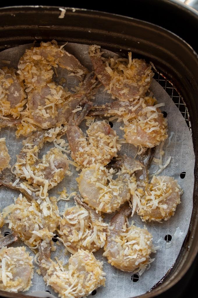breaded shrimp before air frying