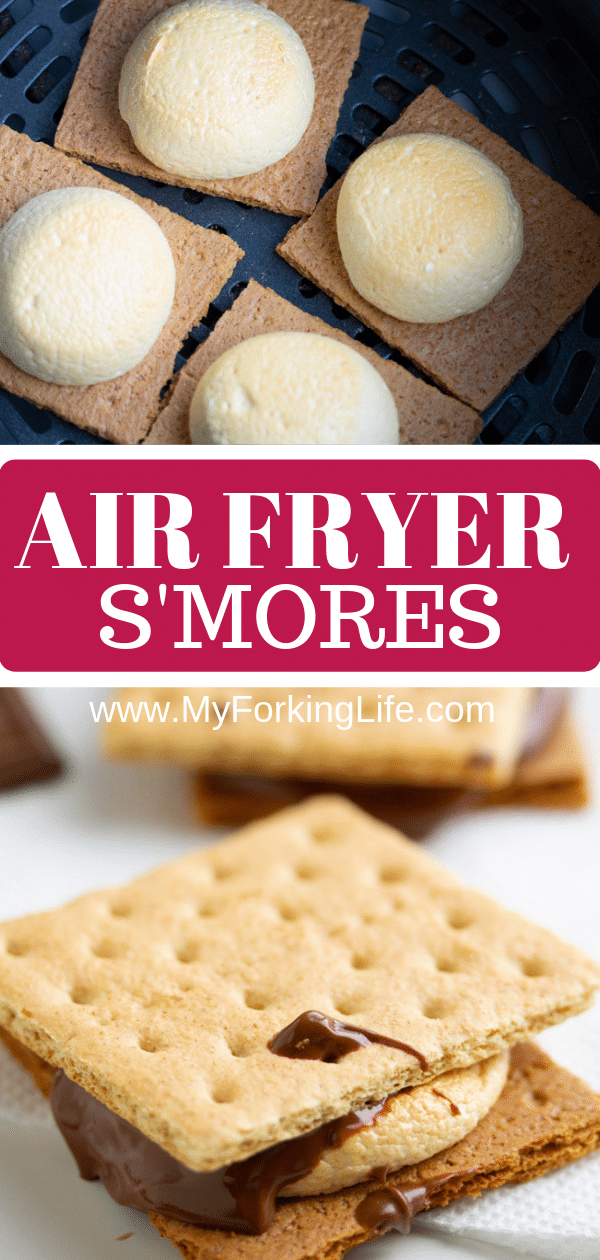 pin graphic for air fryer s'mores