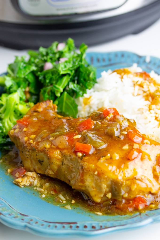 instant pot pork chop on the plate with rice and salad