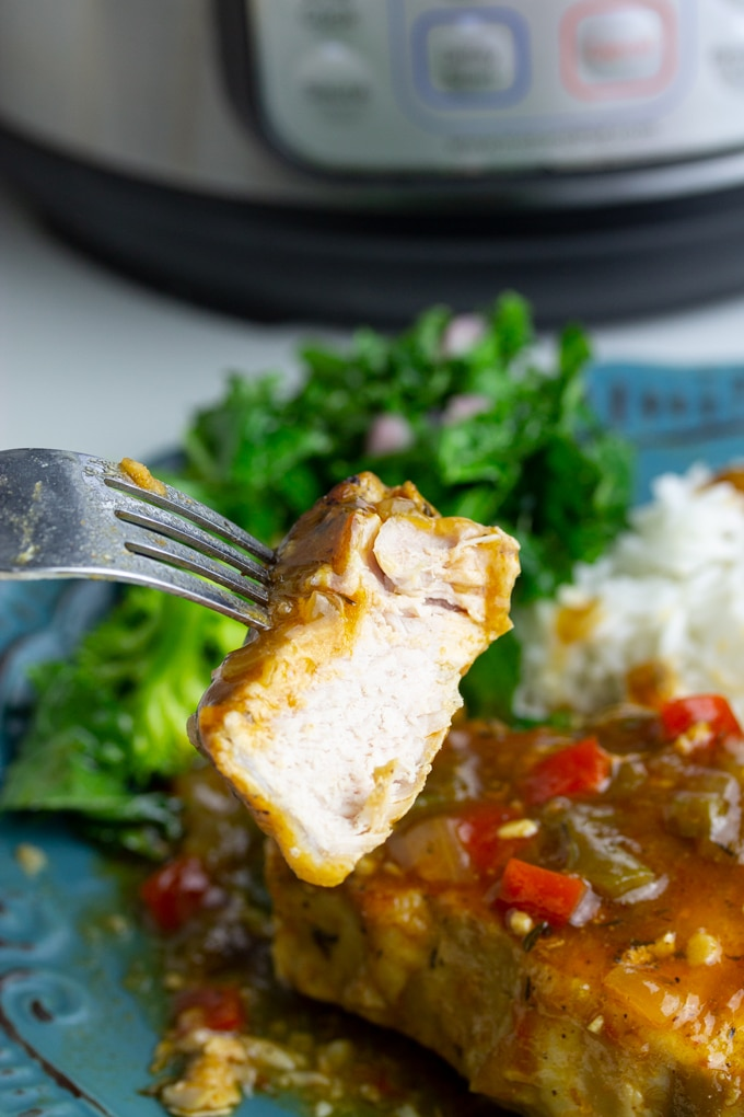 instant pot pork chop on fork