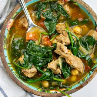 pressure cooker moroccan spiced soup in a bowl