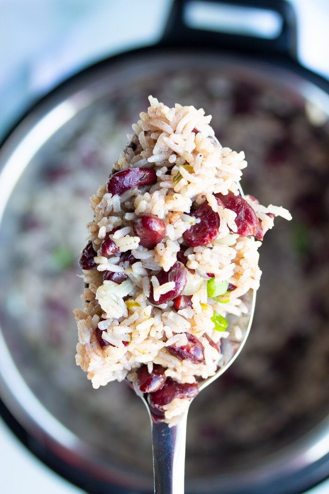 Jamaican Instant Pot Rice and Beans on a spoon