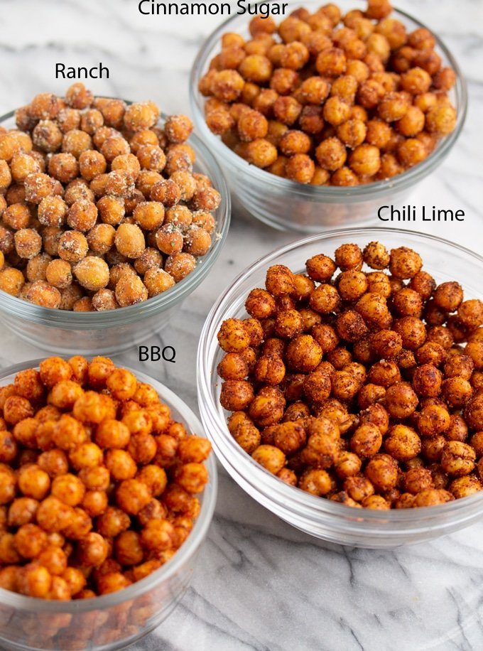 air fryer chickpeas in glass bowls with labels