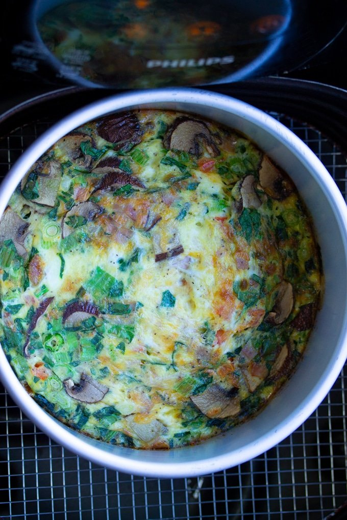 air fryer egg frittata in air fryer basket