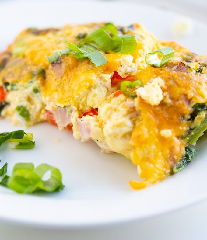 air fryer egg frittata piece on a plate