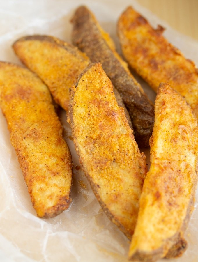 air fryer potato wedges in a pile