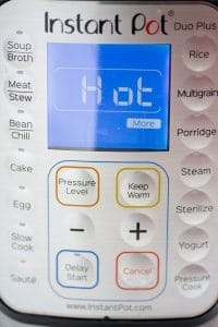 pressure cooker with hot on the display