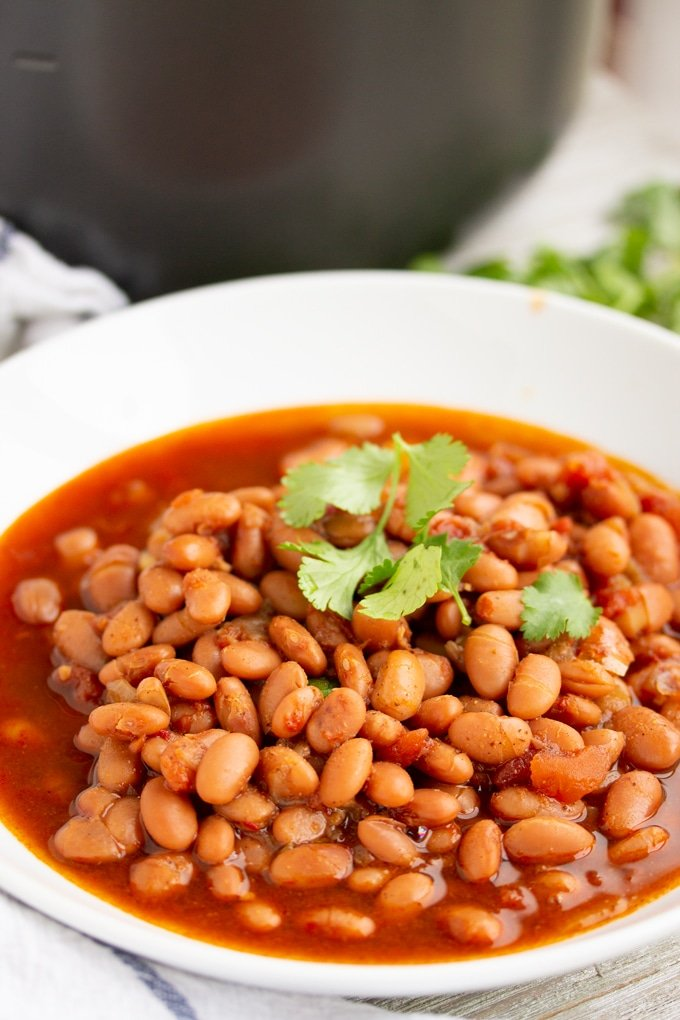 instant pot pinto beans in a large bowl with cilantro on top