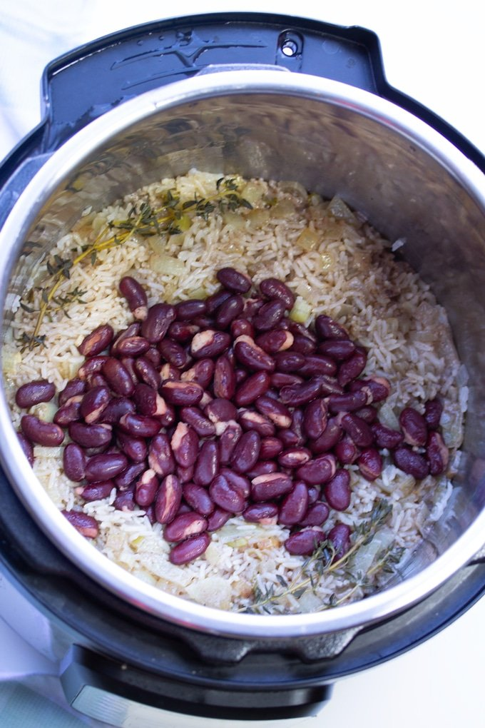 Jamaican instant pot rice and beans in the instant pot after cooking