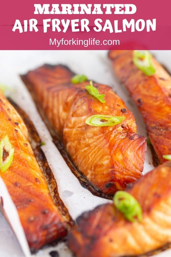 pin image of cooked air fryer salmon