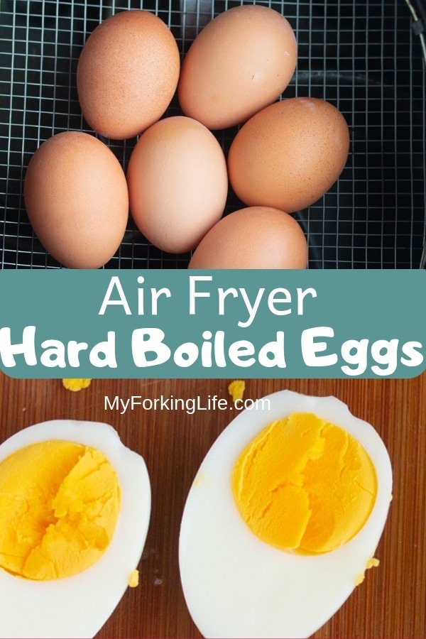 Pin image of air fryer hard boiled eggs. eggs on top and eggs cut in half on bottom.