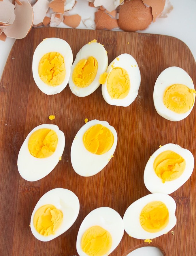 hard boiled eggs made in the Air Fryer on a cutting board