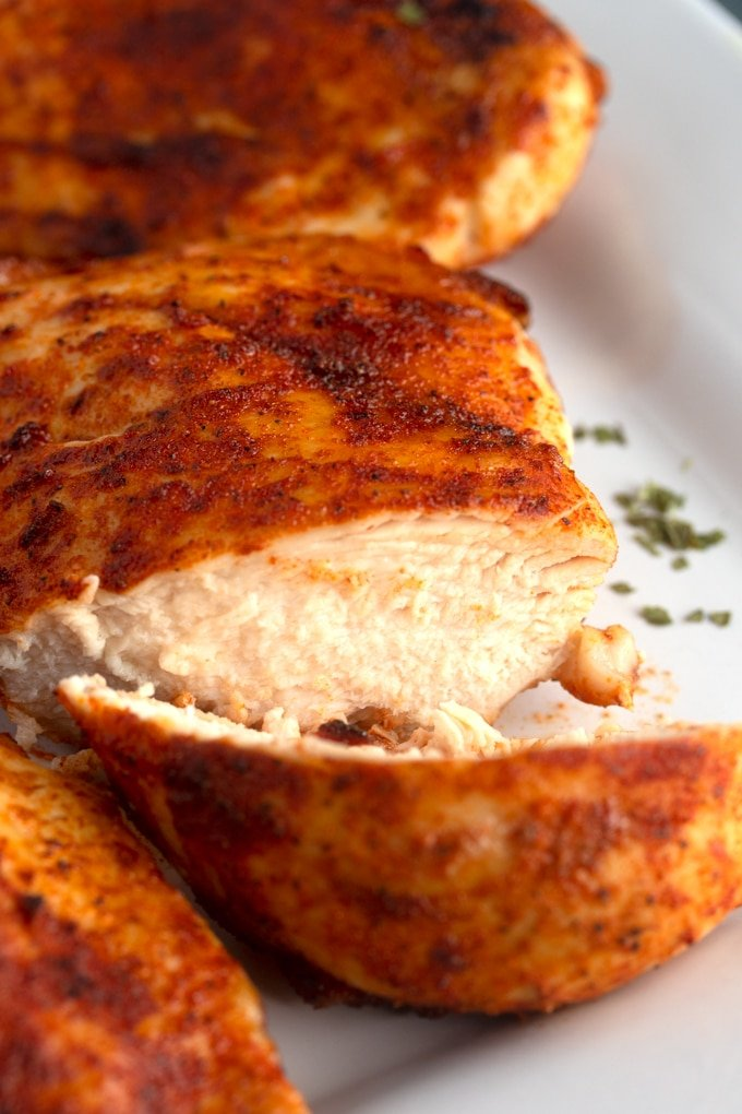 chicken breast on plate cut