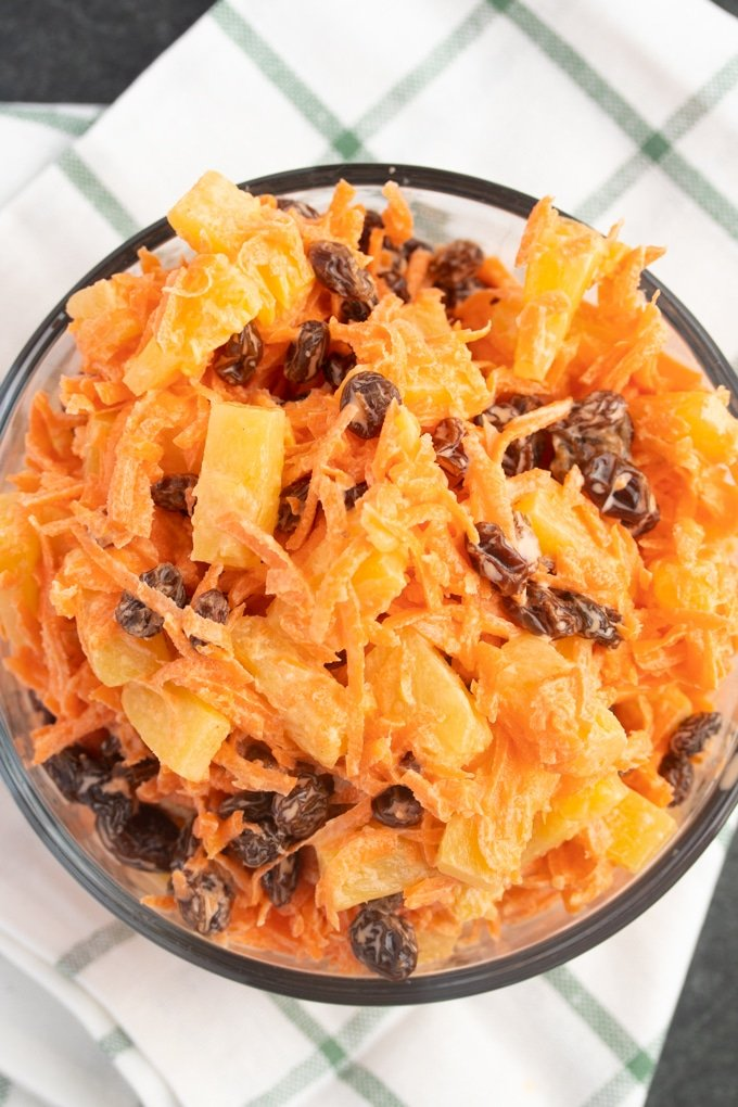 carrot raisin salad in a bowl