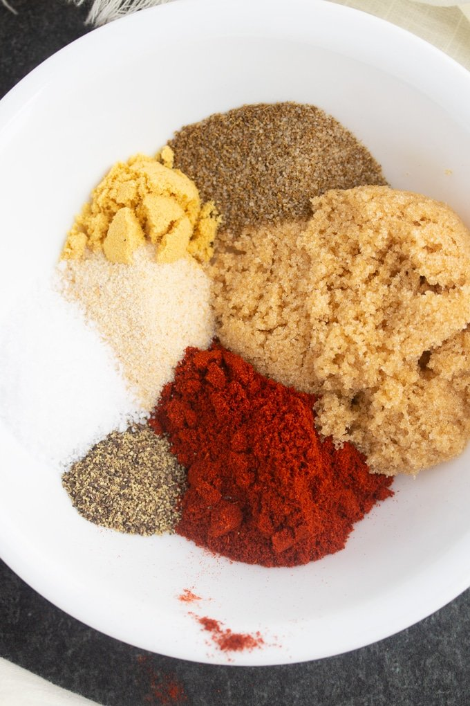 spices separated on a plate