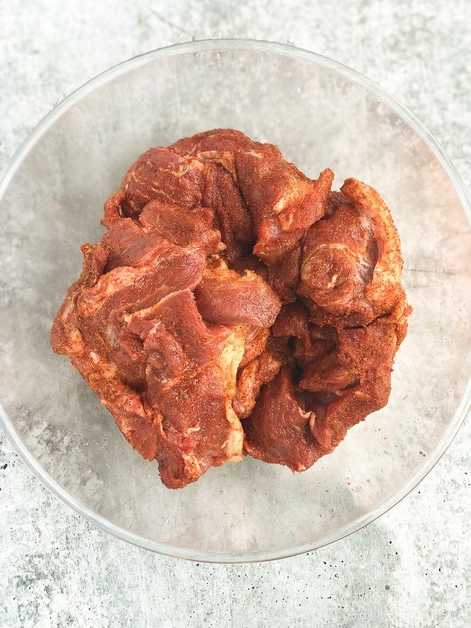 pork pieces covered in rub
