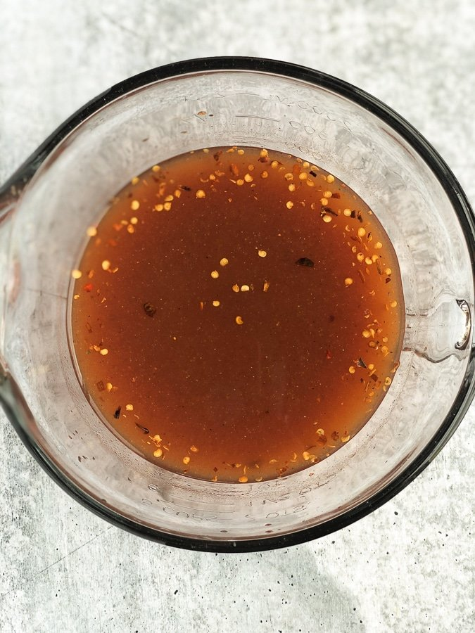 vinegar bbq sauce in glass
