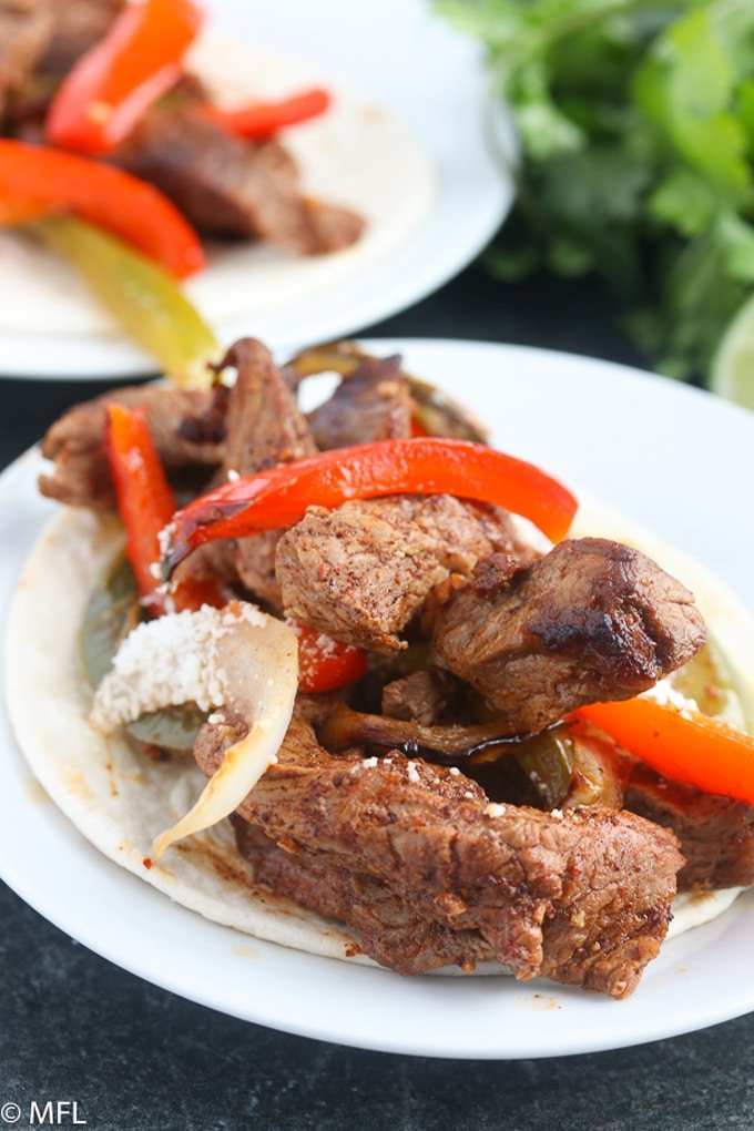 air fryer steak fajitas on a plate