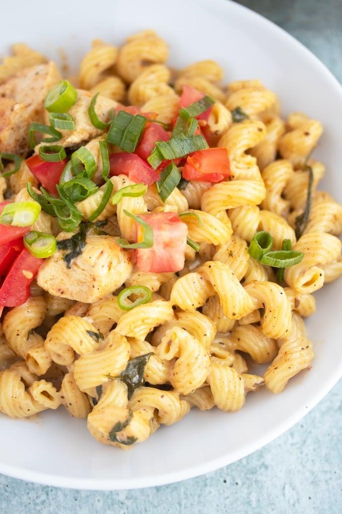 Cajun chicken pasta in a bowl