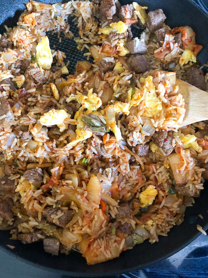 steak kimchi fried rice in a skillet