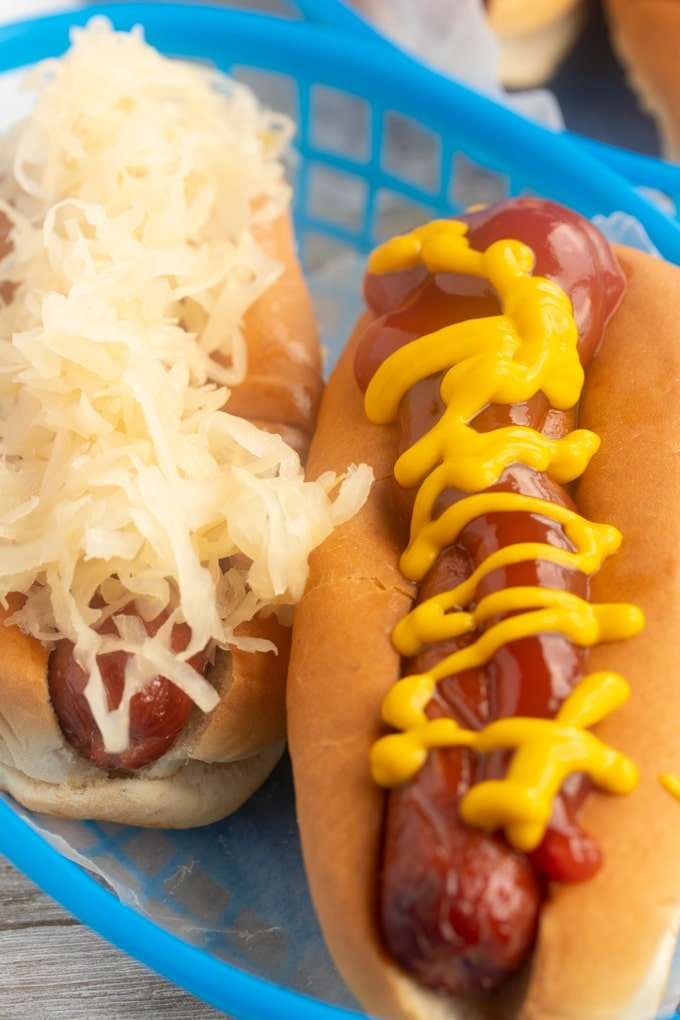 air fryer hot dogs with mustard and ketchup and sauerkraut